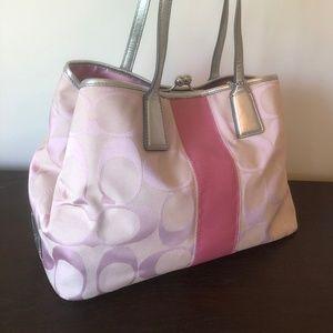 Coach Hand Bag Jacquard Pink D1071-F13533